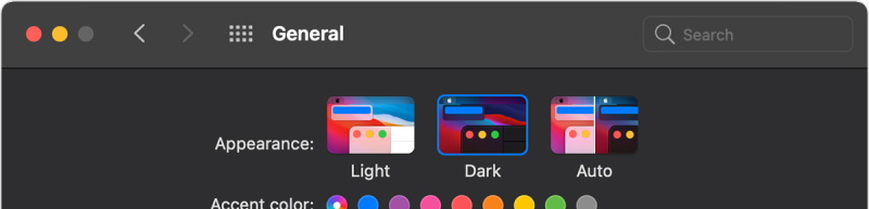 The MacOS general preferences option for auto light/dark modes.
